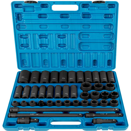 43 Pcs Impact Socket Set 1/2 Inch Ase Standard 19pcs Deep 6-point Extension Bar