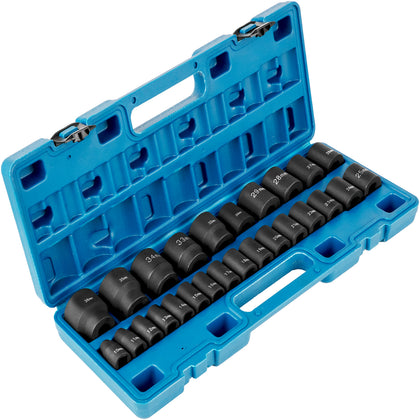 Vevor Impact Socket Set 1/2 Inch Drive 26pcs Standard Length Impact Set 6-point