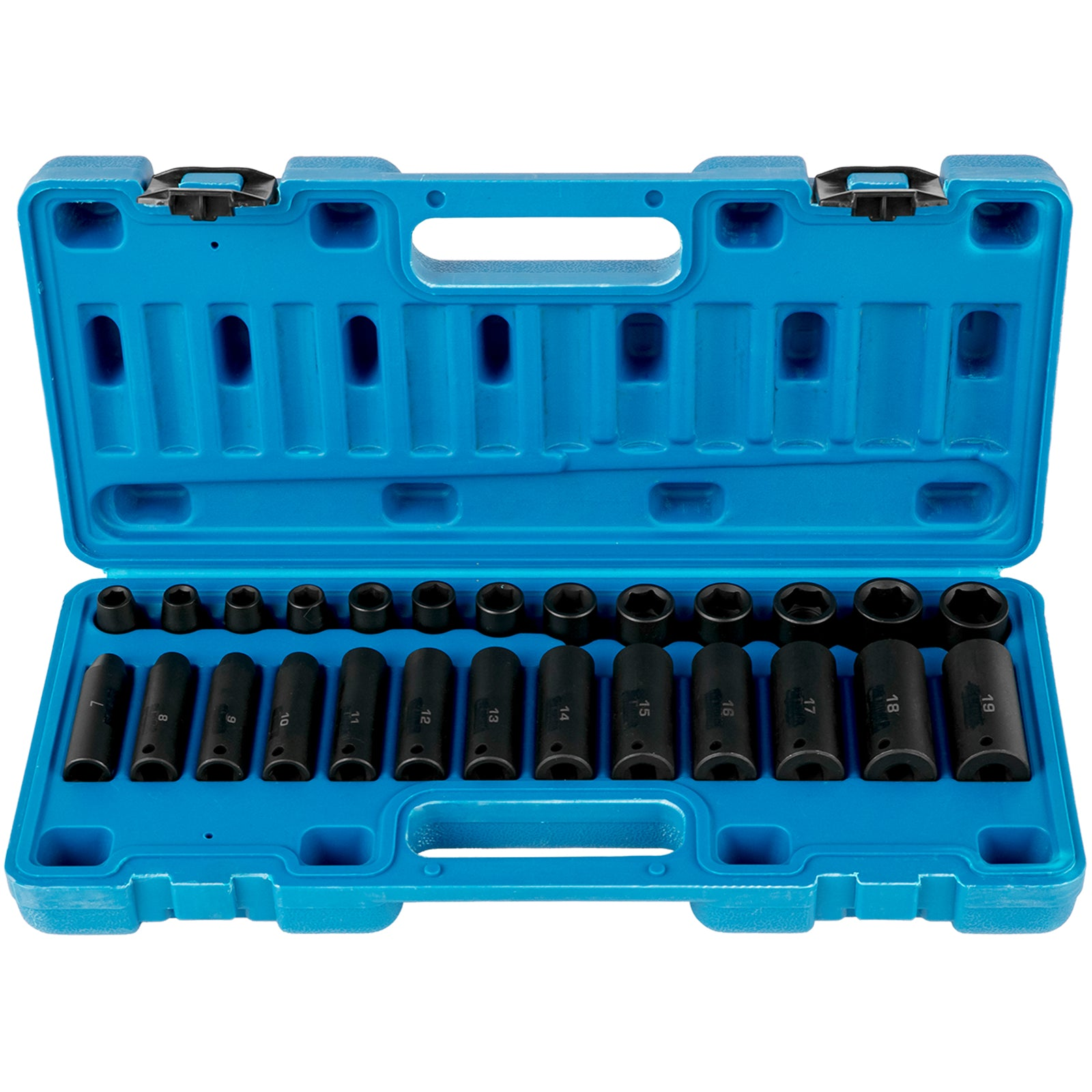 26 Pc Impact Socket Set 3/8 Inch 6-point Standard/deep 7mm - 19mm Chrome Metric