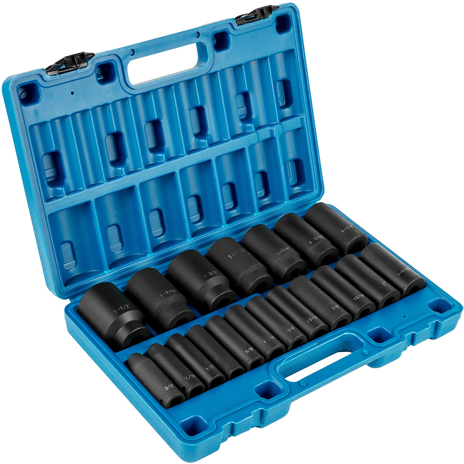 Vevor Impact Socket Set 1/2 Inch Drive 19pcs 3/8 Inch To 1-1/2 Inch Deep Length