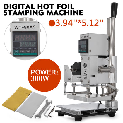 8*10cm Digital Hot Foil Stamping Machine 110v Manual Bronzing Machine & Holder