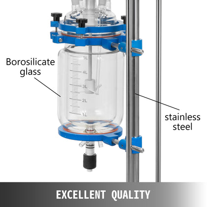 5l Jacketed Glass Reactor Reaction Vessel 100w Digital 0-1200r/min Chemical Lab