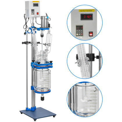 2l Jacketed Glass Reactor Reaction Vessel 100w Digital 0-1200r/min Chemical Lab
