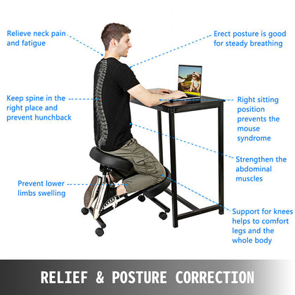 Ergonomic Rolling Kneeling Posture Chair - Adjustable Height - Office Seating