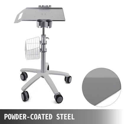 Mobile Rolling Medical Trolley For Ultrasound Imaging Scanner Cart Lab W/basket