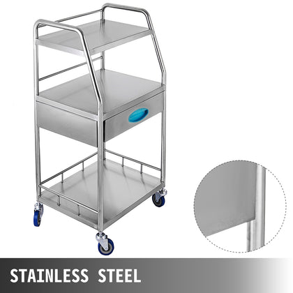 Medical Trolley Mobile Rolling Serving Cart W/ 3 Tiers 1 Drawer Stainless Wheels