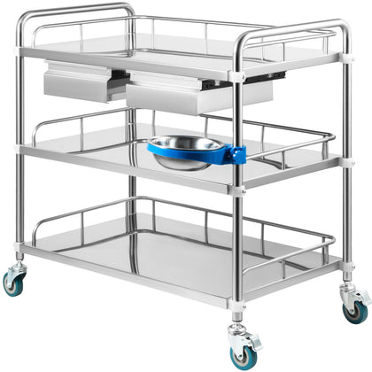 Vevor Lab Cart Stainless Steel Cart 3 Layers With Refuse Basin 2 Drawers Size M