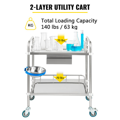 Vevor Lab Cart Stainless Steel Cart 2 Layers Lab Utility Cart With 1 Drawer