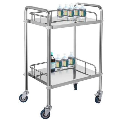 Medical Trolley Mobile Rolling Serving Cart W/ 2 Tiers Stainless Brake Wheels