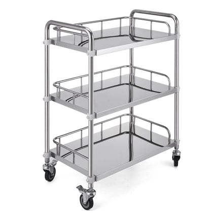 Medical Trolley Mobile Rolling Serving Cart W/ 3 Tiers Stainless Brake Wheels