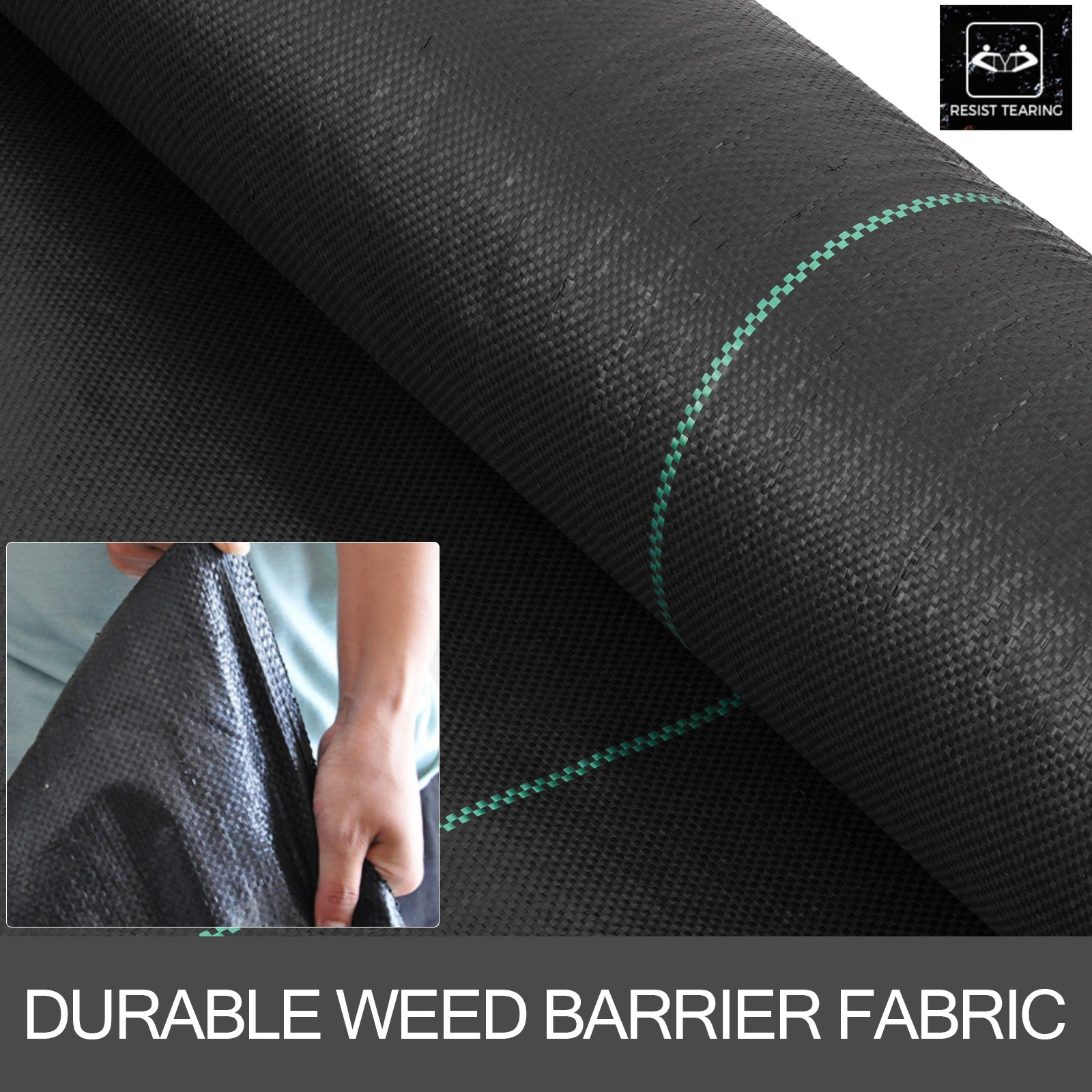 6.5x330ft Weed Barrier Landscape Cover 3.2oz Pp Woven Chemical-vegetable