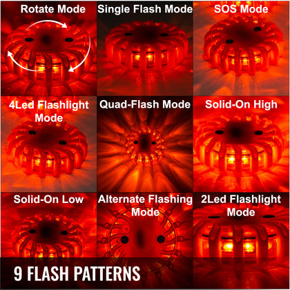 6pc Road Flares Emergency Lights Flashing Light Safety Beacon Magnetic W/ Bag