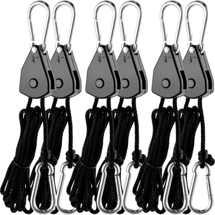 Vevor Grow Light Hanger Rope Clip Hanger 3-pair 1/8 Inch 6-feet Rope Ratchets