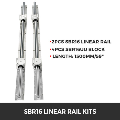 Linear Rail Sbr16-1500 Mm 2 Rails 4 X Bearing Blocks Sbr16uu For Cnc Machines