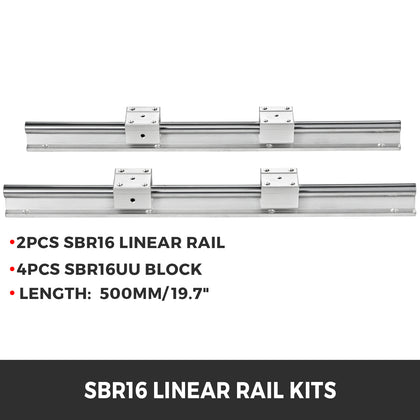 Sbr16-500mm 2 X Linear Rail 4 X Bearing Blocks Cnc Router Bearing Sbr 16uu