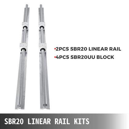 2pcs Linear Guide Rail Sbr20-1200mm Shaft Rods 4x Sbr20uu Blocks Local Stock