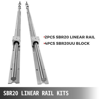 Sbr20-1800mm 2 X Linear Rail 4 X Bearing Blocks Routers Cnc Router Economical