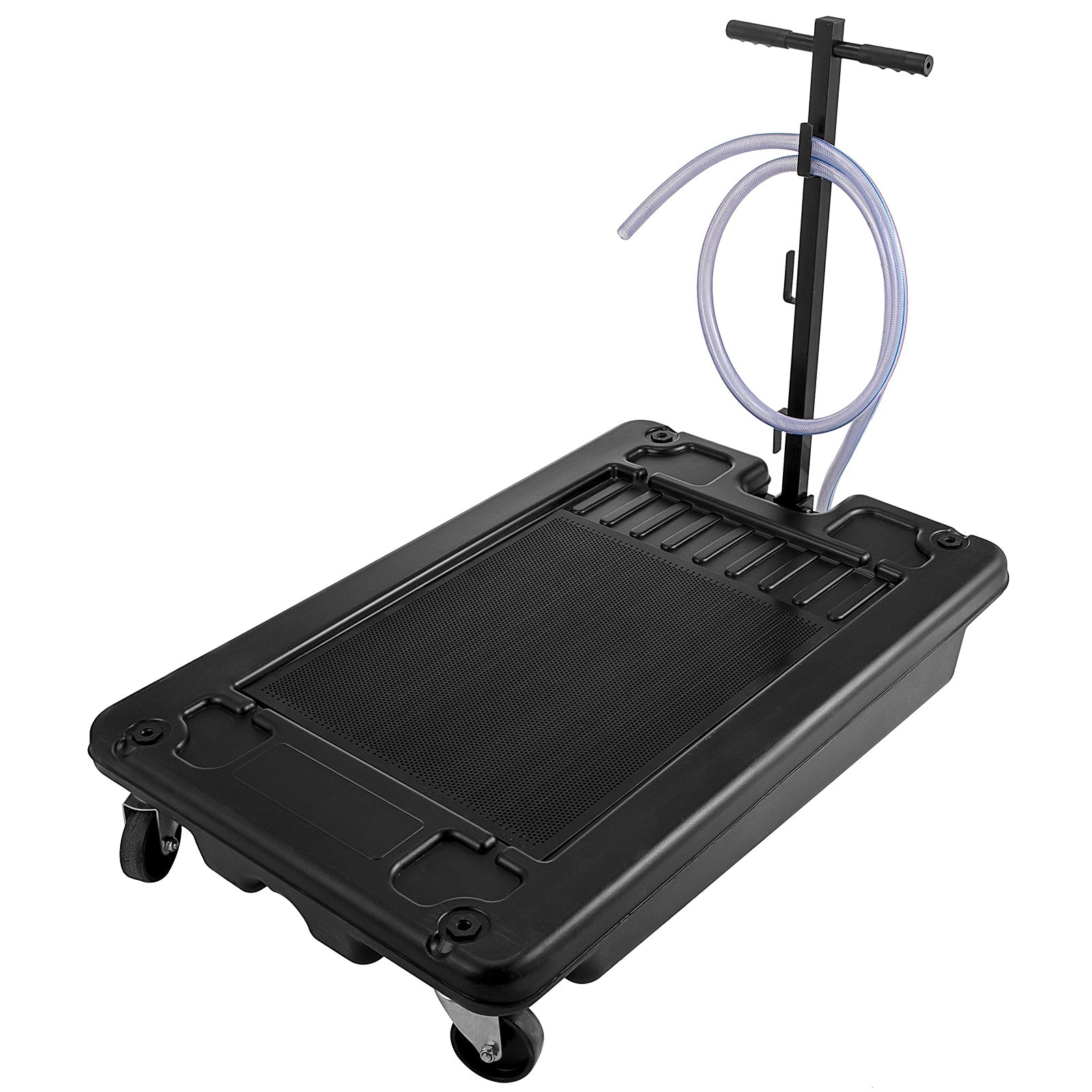 Low Profile Oil Drain Pan 17 Gallon Portable With Electric Pump And 10/' Hose