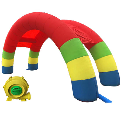Twin Arches Inflatable Double Stander Advertising Arch With 350w Blower