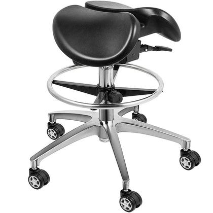 Twin Adjustable Saddle Chair Stool Leather Blood Circulation Gas Lift Massage