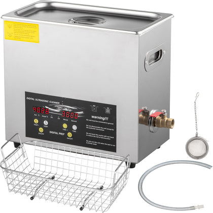 10l 400w Stainless Steel Industry Ultrasonic Cleaner Heated Heater W/timer