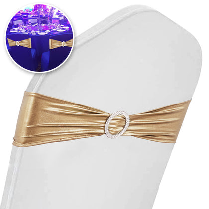 100pcs Spandex Stretch Chair Cover Sashes Bands Champagne Party Wedding Banquet
