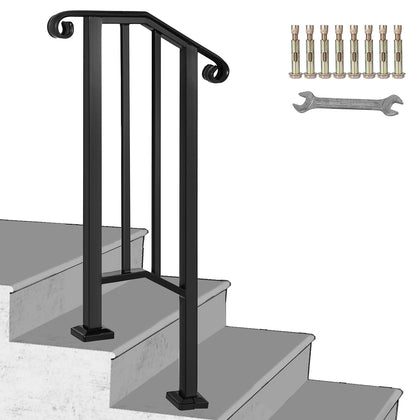Fits 1 Or 2 Steps Iron Handrail Picket Stair Rail Matte Black Paver Steps Office