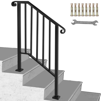 Iron Handrail Picket #2 Hand Railing Rail Fits 2 Steps Black Fit Home Garden