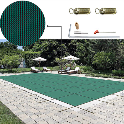 Safety Pool Cover 18x36 Ft Rectangular In Ground Brass Winter Cover Water
