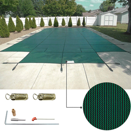 Swimming Pool Cover 16x32 Ft W/center Step Rectangular Safety Green Winter