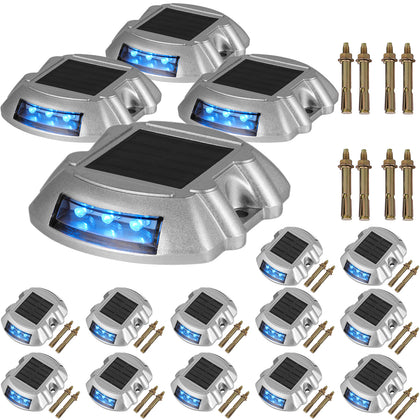16 Pack Blue Solar Led Marker Waterproof Pathway Lights Driveway Boat Road Dock