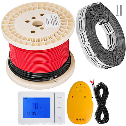 Electric Tile Radiant Warm Floor Heated Kit 90sqft With Thermostat Cable Guides