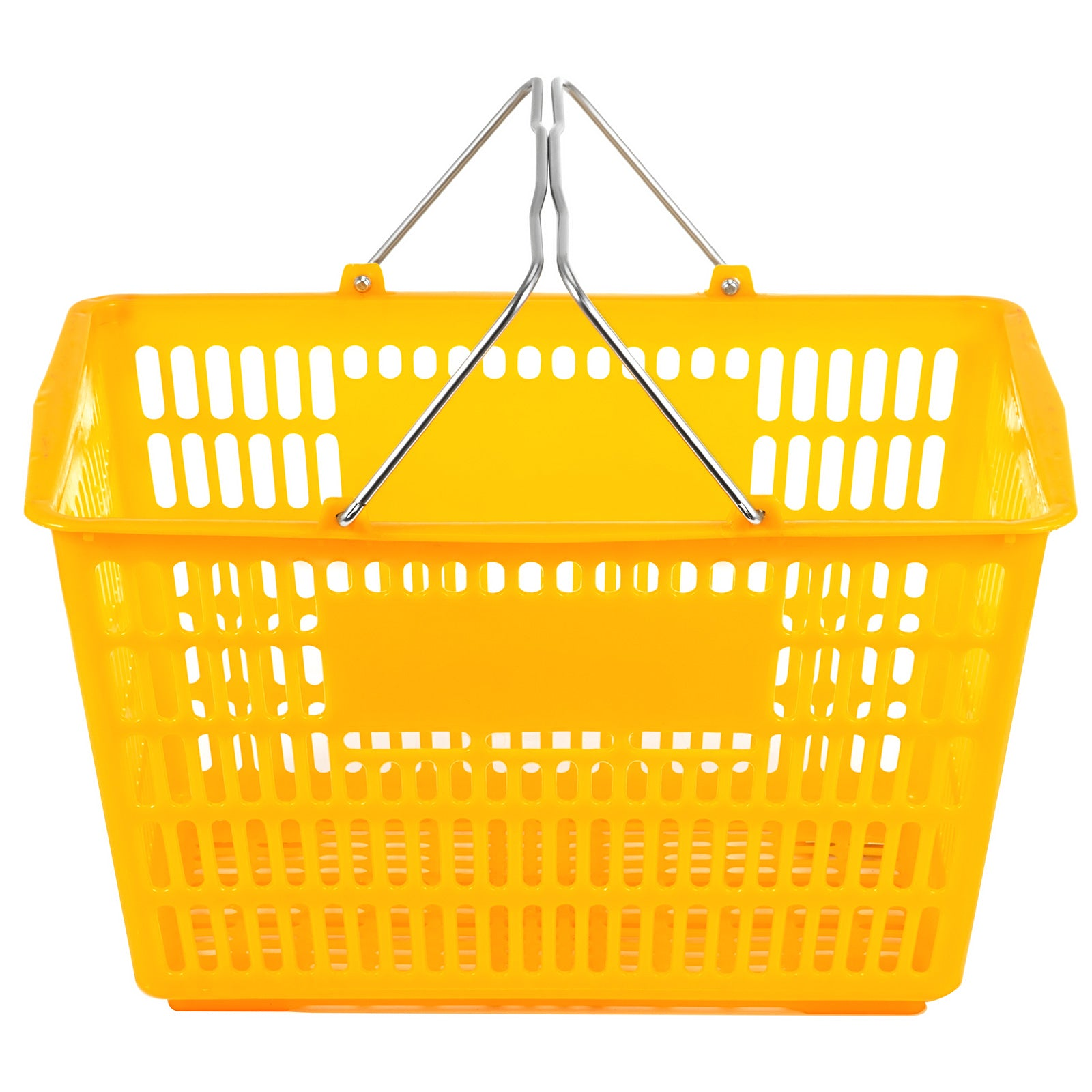 12pcs Plastic Shopping Basket 18.5x12.5x10.4in Lightweight Ktv Metal Handles