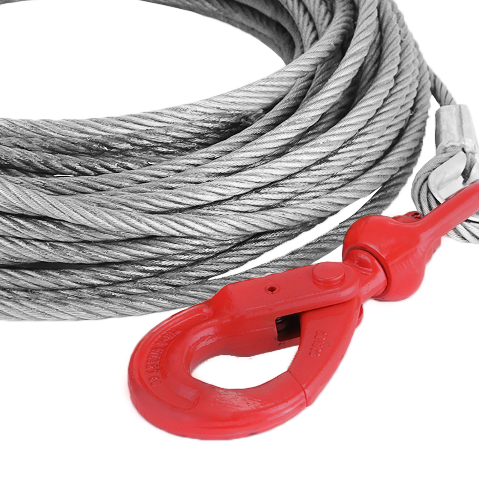 "1/2"" X 75' Winch Cable With Self Locking Swivel Hook 6600lbs Replacement Hoist"