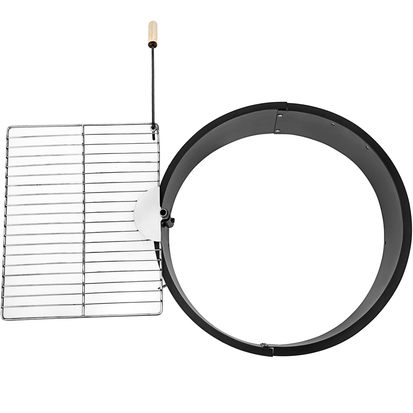 Hearth Solid Steel 24 Inch Outdoor Garden Patio Round Fire Pit Ring W/grill