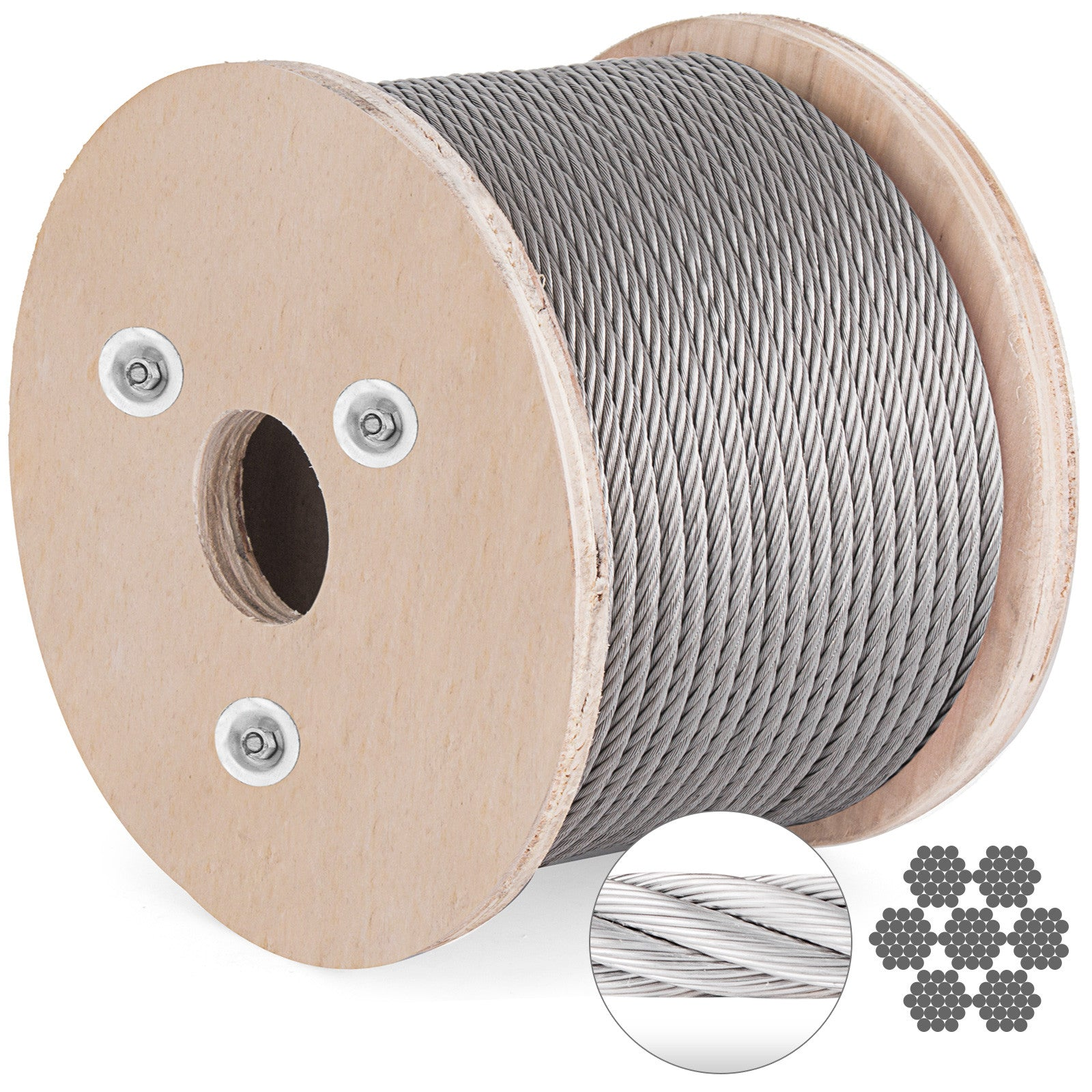 Cable Railing T304 Stainless Steel Cable Wire Rope Strand, 3/16, 7x19, 300 Ft