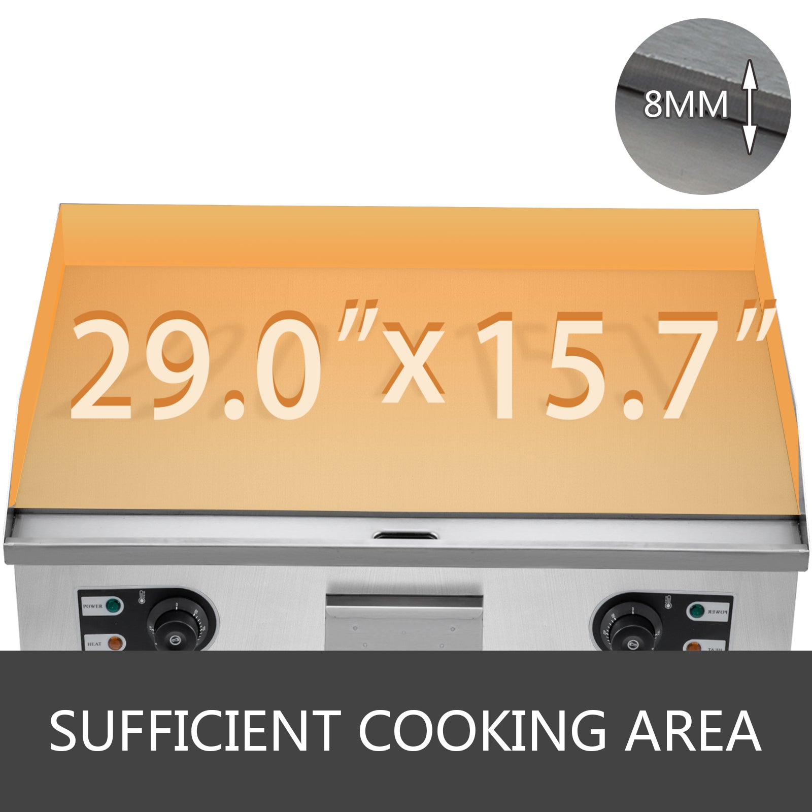 3000W Commercial Electric Grill Griddle Stainless Steel Restaurant Teppanyaki Grill Countertop Flat Top Griddle Flat Bakeware Nonstick Kitchen Appliance