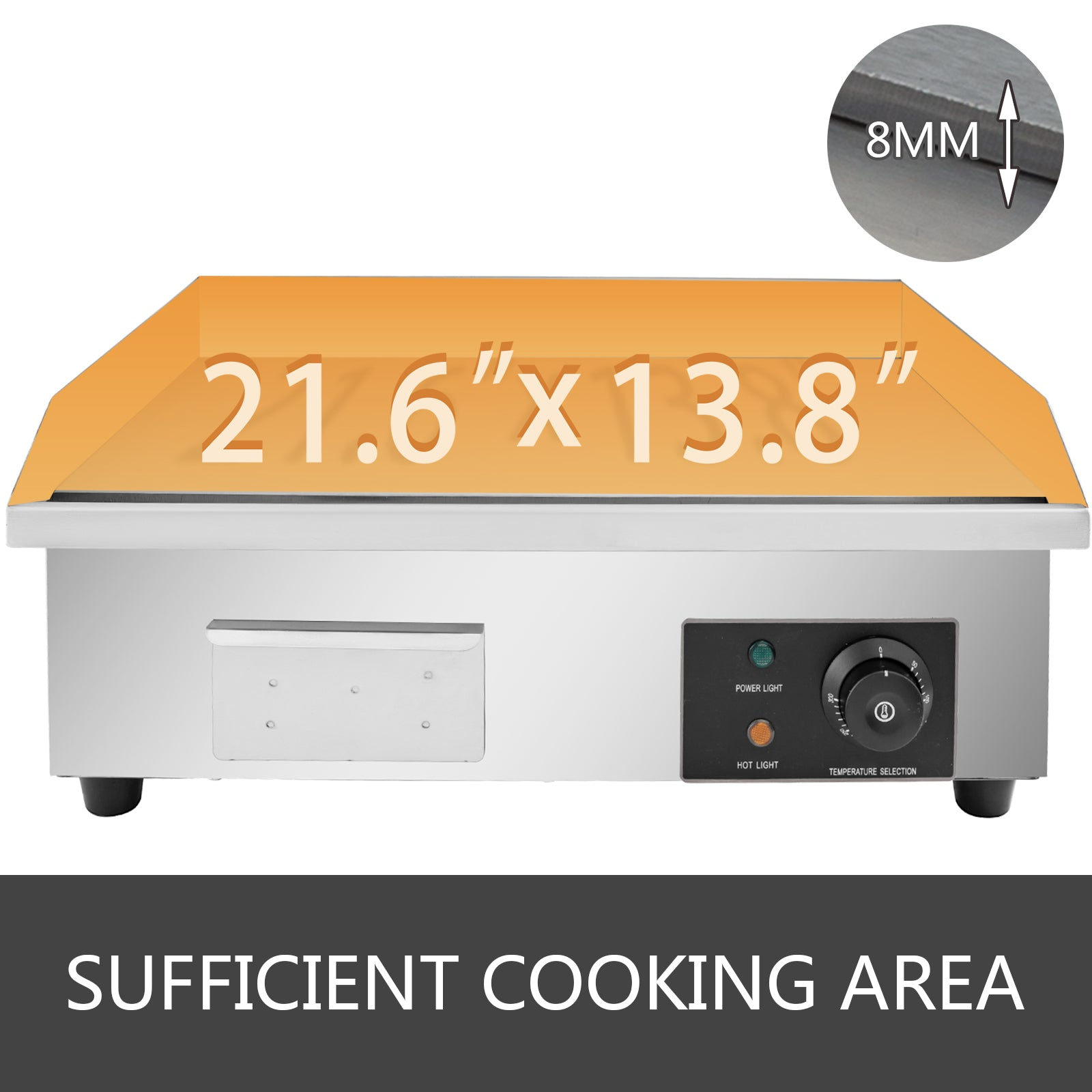 "3000w 22"" Commercial Electric Countertop Griddle Flat Top Grill Hot Plate Bbq"
