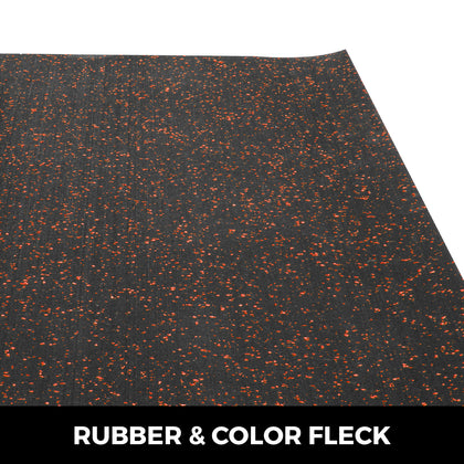 Rubber Floor Mats Gym Fitness Flooring Rolls 3.6'x15.3' 8mm Red Speckle Non-slip