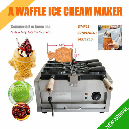 3pcs Opening Fish Waffle Taiyaki Maker 110v Japanese Commercial Nonstick Kitchen