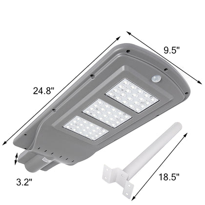 60w Led Solar Power Street Lights Outdoor Road Pole Security Light Lamp Ip65+arm