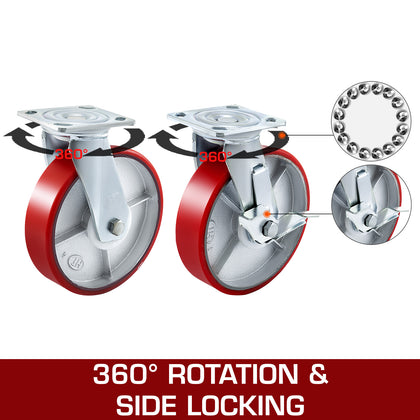 Polyurethane Swivel Casters 2 Side Brake 8
