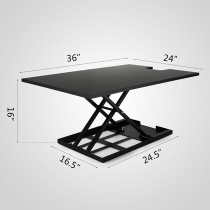36 Inch Standing Desk Converter Height Adjustable 3 Tier Stand Up Workstation