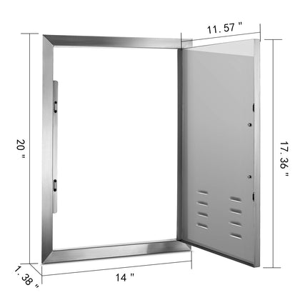 Stainless Steel Insulated Single Access Door For Bbq / Outdoor Kitchen 20 X 14