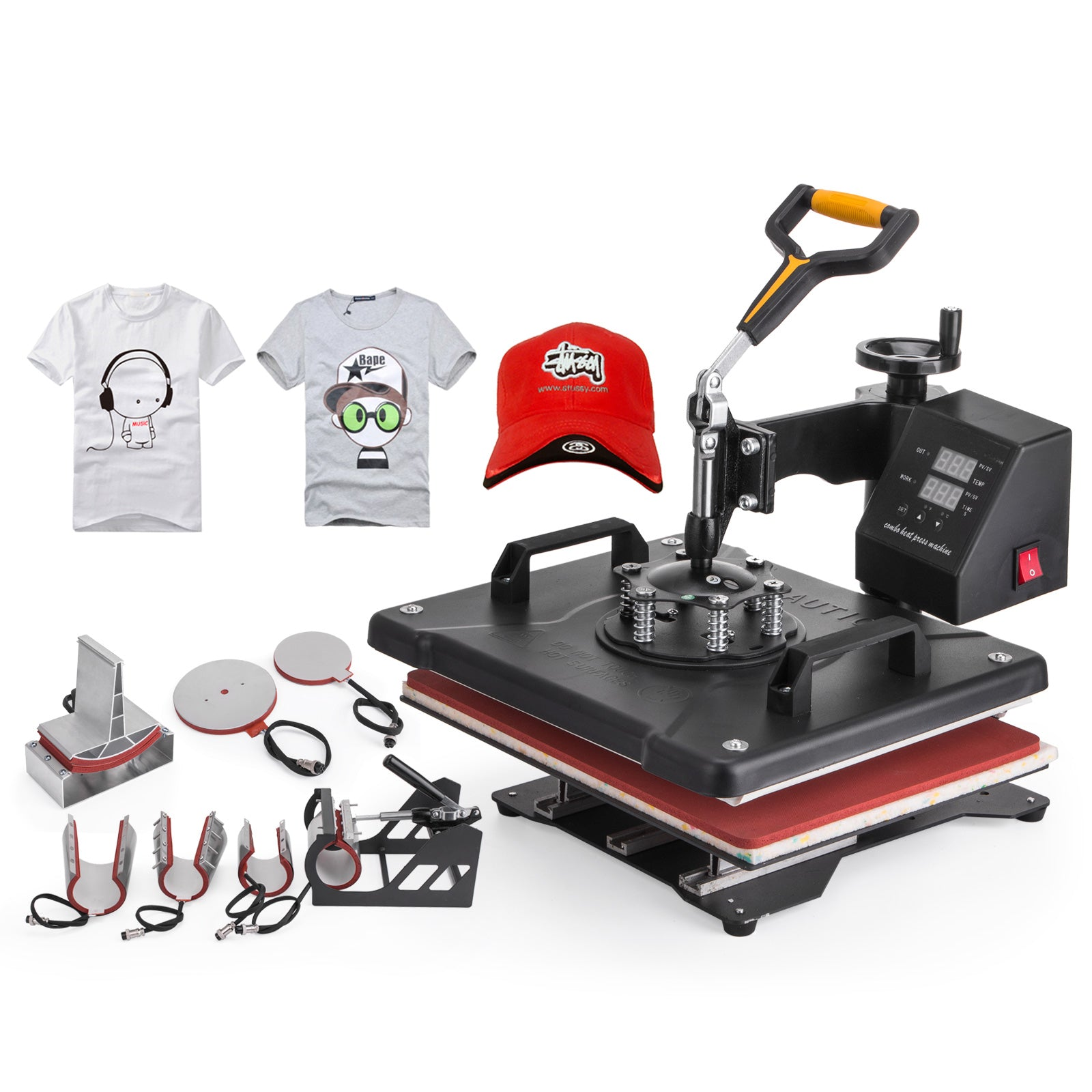 8 In 1 Transfer Sublimation T-shirt Mug Hat Plate Cap Heat Press Machine.