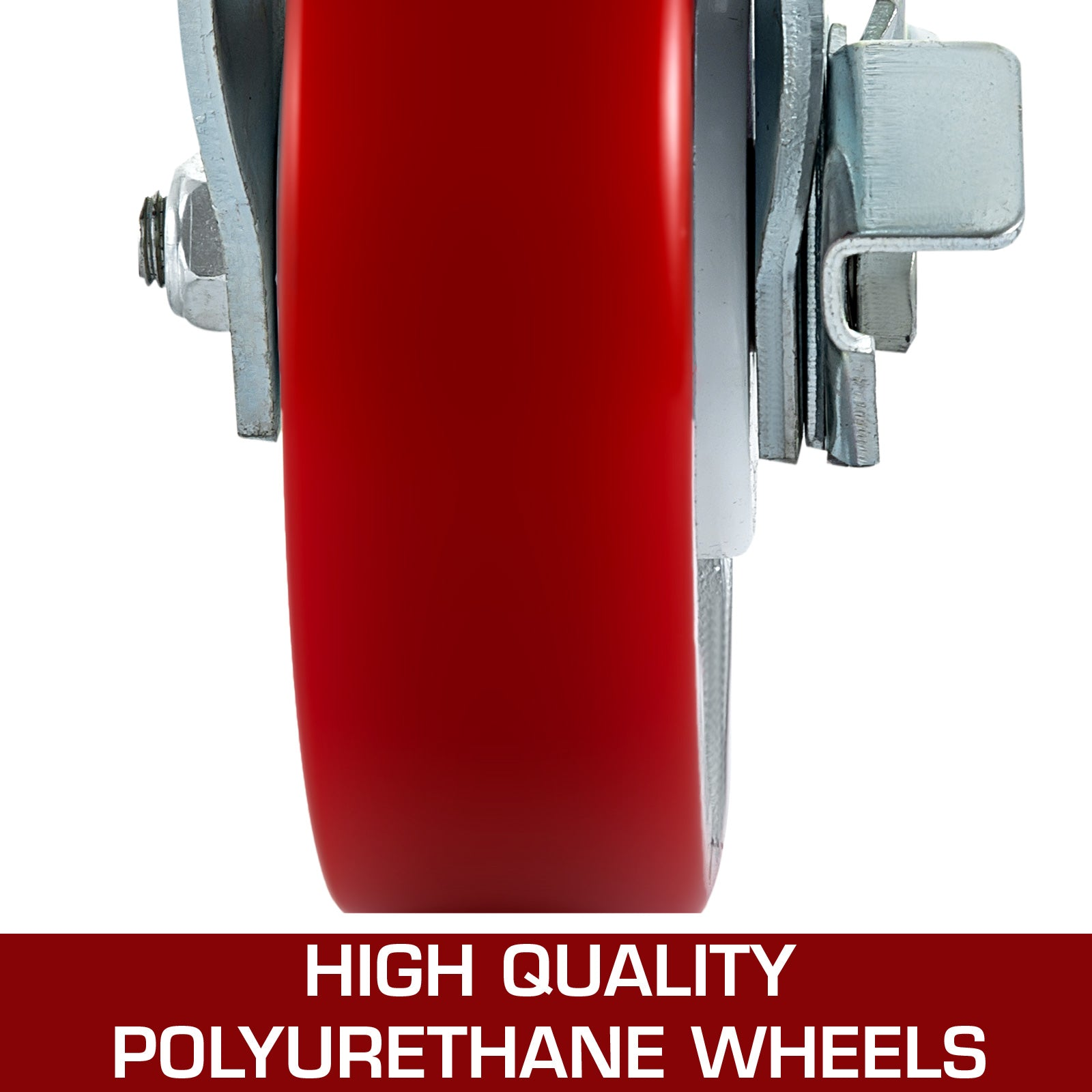 "4pcs 8""x Pu Swivel Casters With Side Brake 2''width Safety"