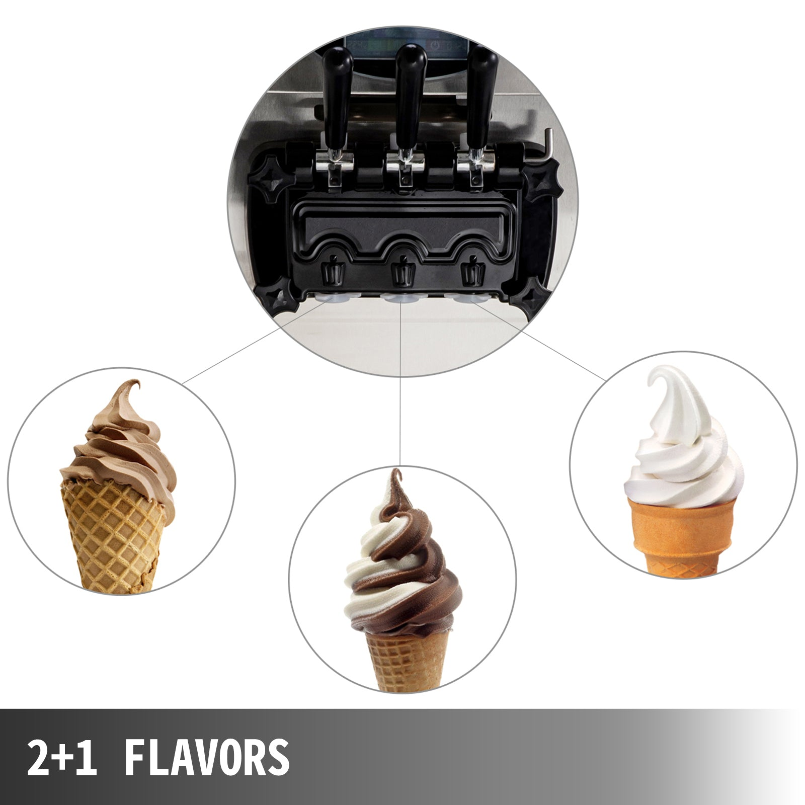 2200w Commercial Soft Ice Cream Machine 3 Flavors Pre-cooling Auto 304 Stainless