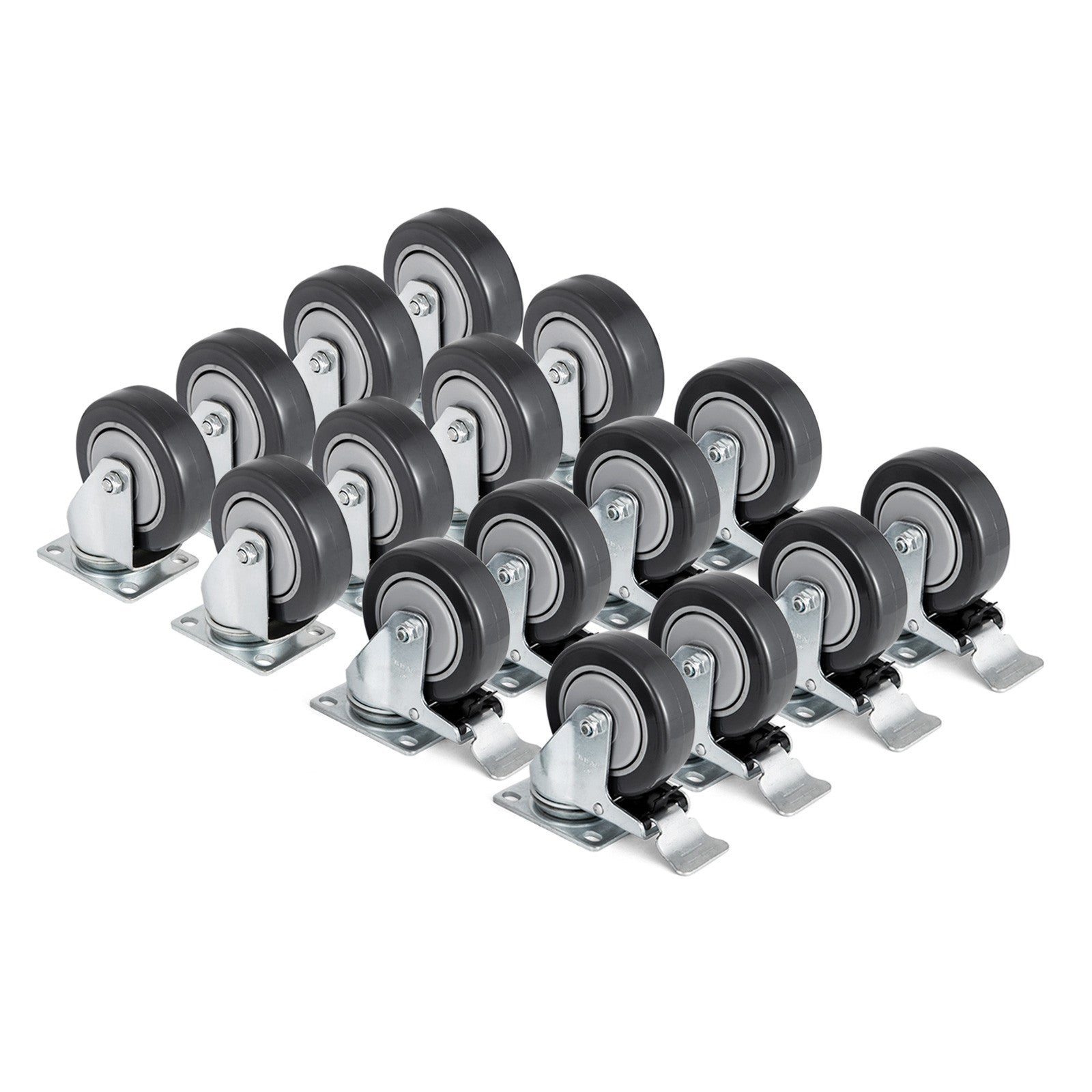 "Set Of 16 Swivel Plate Casters With 4"" Polyurethane Wheels & 8 Side Brakes"