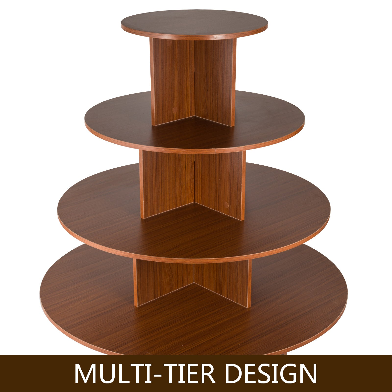 4 Tiers Round Display Stand Retail Display Assemble Teak Wood Color Table Hot