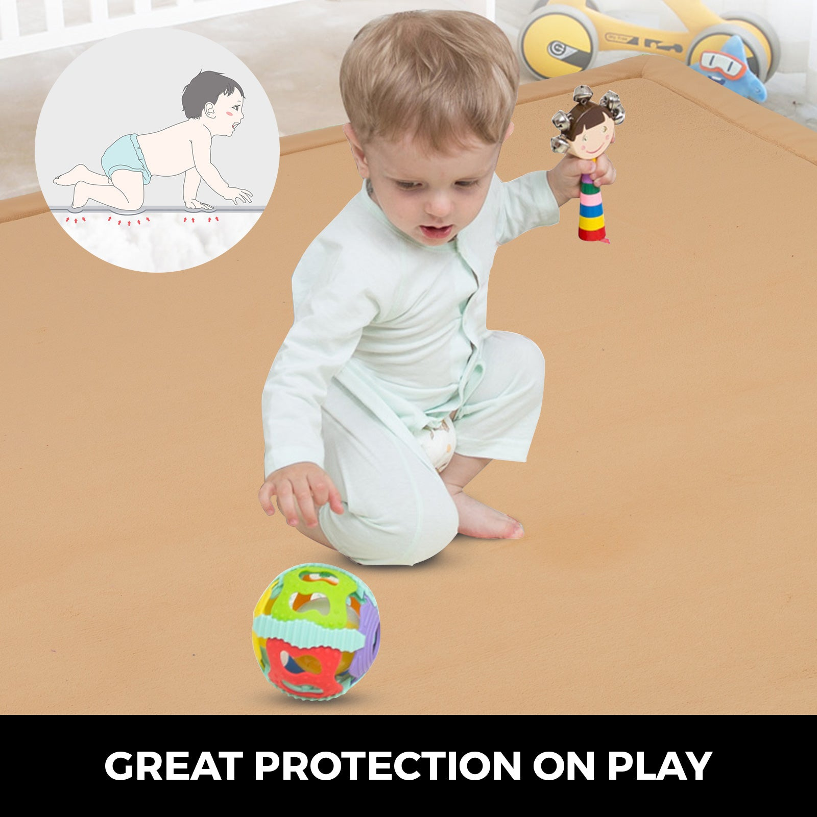 Baby Play Mat Crawling Rug Coral Fleece Blanket Thickened Carpet Foam 2x1.8m